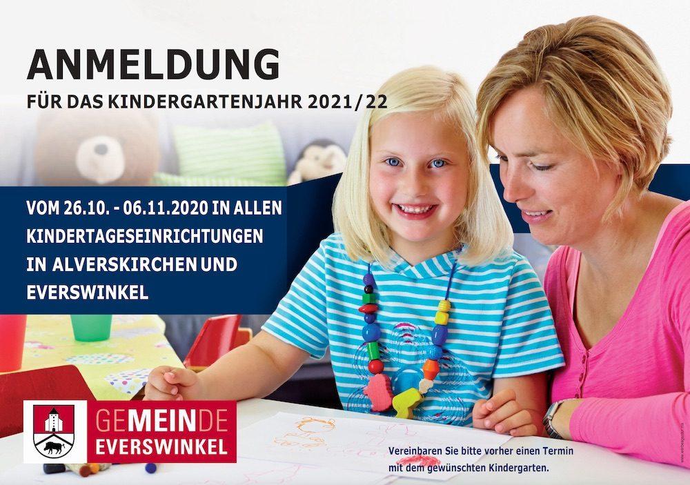 Anmeldungen zu Kindergartenjahr 2021/2022 in Everswinkel und Alverskirchen