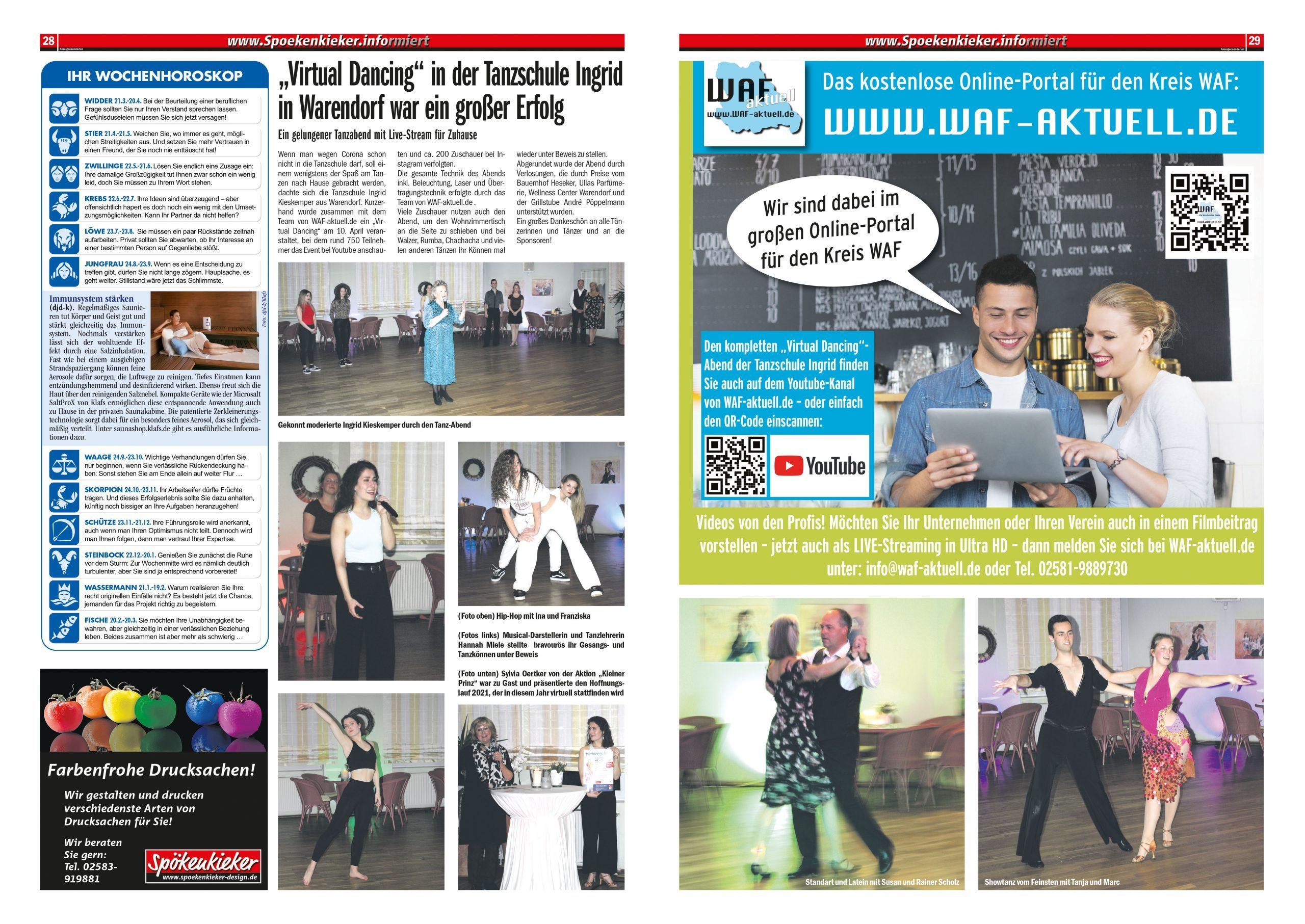 """Virtual Dancing"" in der Tanzschule Ingrid war ein großer Erfolg. VIDEO & Fotostrecke"
